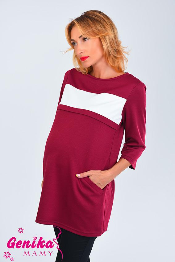 907742a9da5 Туника для беременных и кормящих с контрастной полосой бордо ...