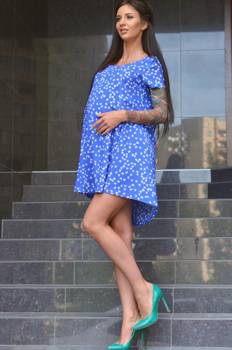 Легкое летнее платье для беременных и кормящих бабочки на синем ... 0e6957ae9c0
