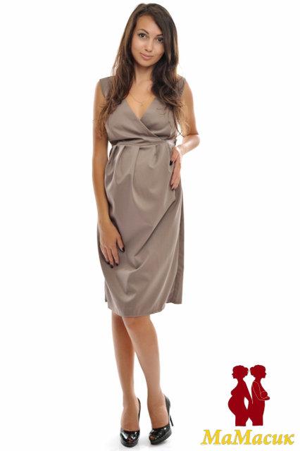 b80e4ca69b941a2 Сарафан для беременных классический без рукавов темно-песочный ...