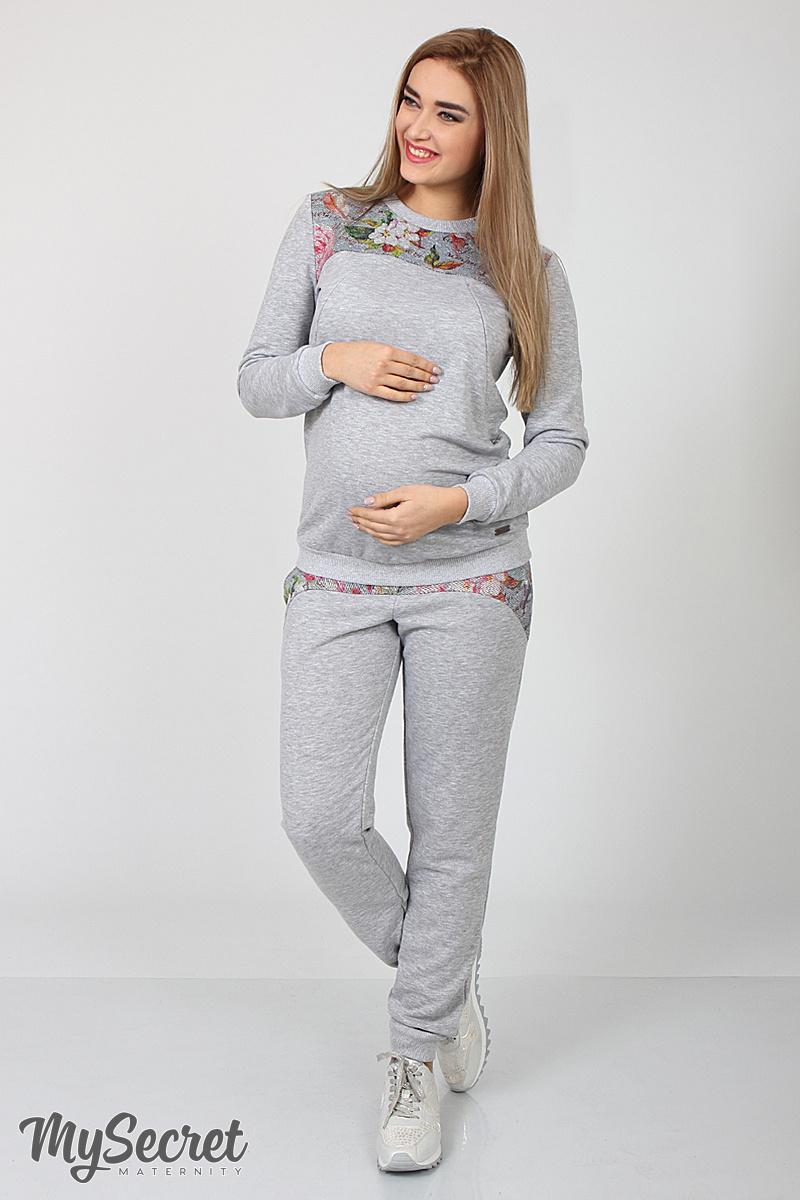 d704806ed23c Спортивные брюки для беременных и после Noks серый меланж+ принт цветы на  сером меланже