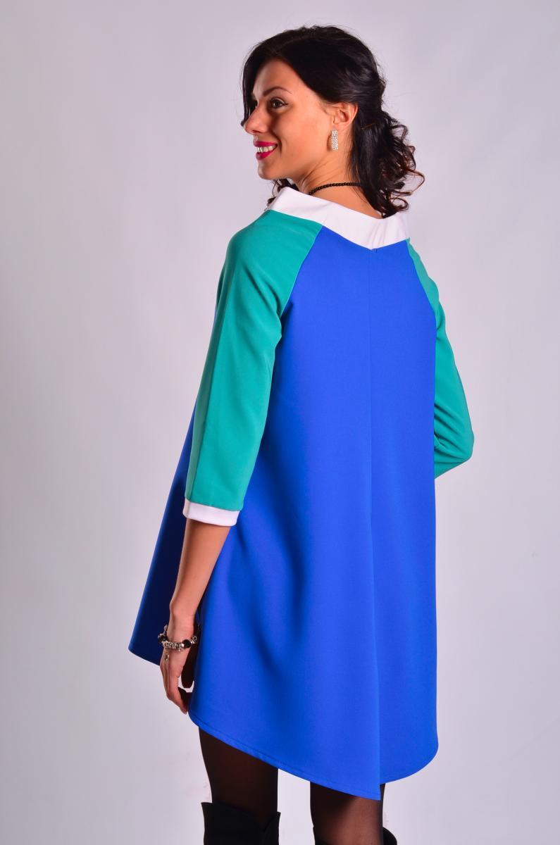 Платье-туника для беременных кормящих и после Александра насыщенный синий с  бирюзой ff84ce2faa0