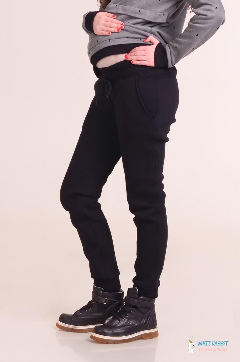 Теплые брюки для беременных на флисе Star черные 68a07c5dd3dbe