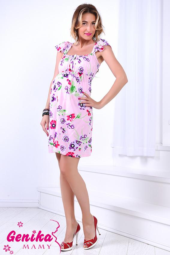 252db3a7838 Сарафан для беременных и кормящих с рукавами-крылышками маки на розовом