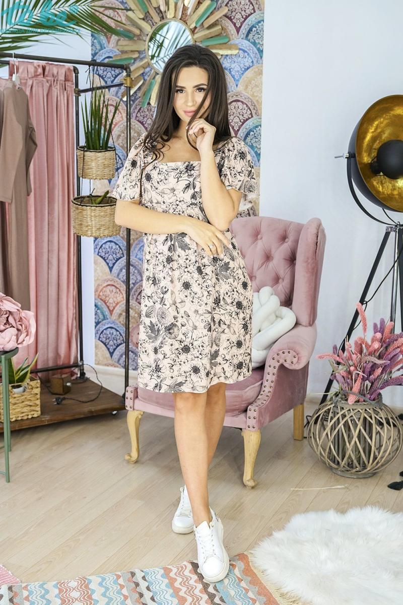 6d17c0ff0f271ba Легкое, романтичное платье для беременных и кормящих черные цветы на бежевом