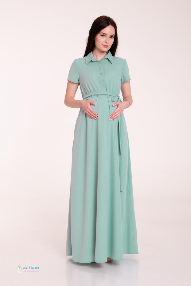 5ba592178e30e3e Шикарное платье в пол для беременных и кормящих Жасмин травяной ...