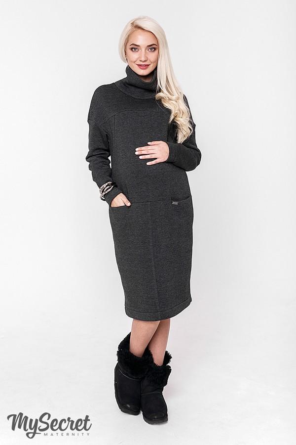 255d86ce6a48 Очень теплое платье для беременных и кормящих Solly антрацитовый меланж