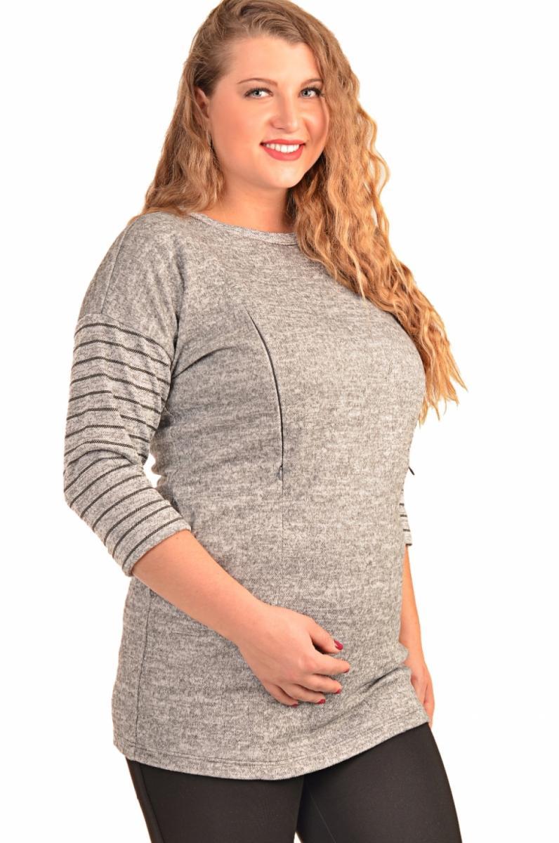 e485470dd34a4 Лонгслив для беременных и кормящих серый меланж (большие размеры)