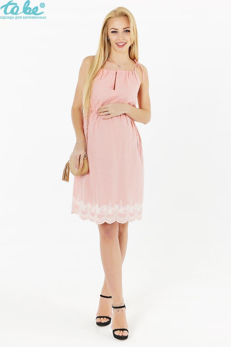 ebfc6c0e947 Нежный сарафан из натурального хлопка с прошвой для беременных и после  розовый